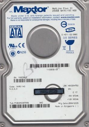 7Y250M0, Code YAR511W0, KGGD, Maxtor 250GB SATA 3.5 Hard Drive