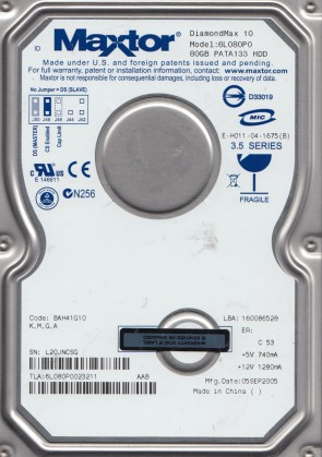 6L080P0, Code BAH41G10, KMGA, Maxtor 80GB IDE 3.5 Hard Drive