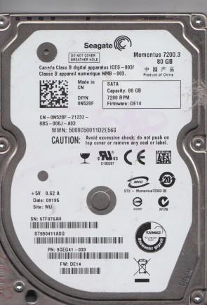ST980411ASG, 5TF, WU, PN 9GEG41-033, FW DE14, Seagate 80GB SATA 2.5 Hard Drive