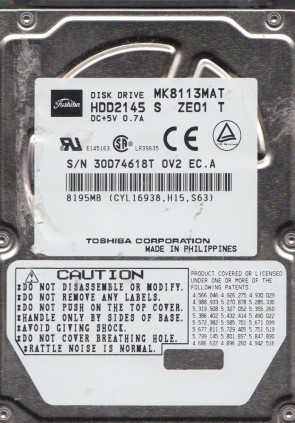 MK8113MAT, A0/J3.01D, HDD2145 S ZE01 T, Toshiba 8GB IDE 2.5 Hard Drive