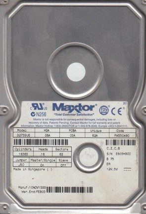 92739U6, Code FA550480, CZCB, Maxtor 27GB IDE 3.5 Hard Drive