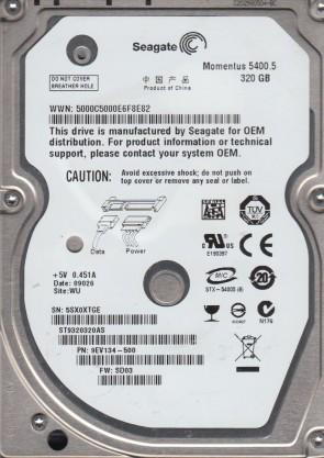 ST9320320AS, 5SX, WU, PN 9EV134-500, FW SD03, Seagate 320GB SATA 2.5 Hard Drive