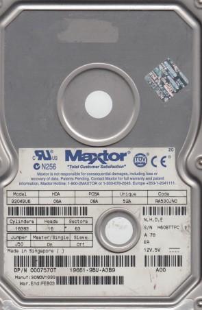 92049U6, Code RA530JN0, NHDE, Maxtor 20.4GB IDE 3.5 Hard Drive