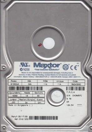 91360U4, Code MA5409S0, FMCA, Maxtor 13.6GB IDE 3.5 Hard Drive