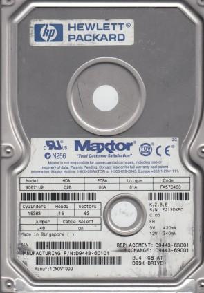 90871U2, Code FA570480, KZBE, Maxtor 8.4GB IDE 3.5 Hard Drive