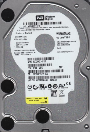 WD5000AAKS-65YGA0, DCM HHRNHT2AHB, Western Digital 500GB SATA 3.5 Hard Drive
