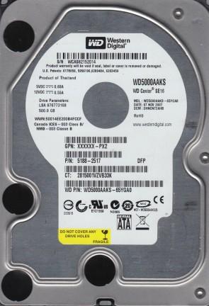 WD5000AAKS-65YGA0, DCM DHNCNT2AHB, Western Digital 500GB SATA 3.5 Hard Drive