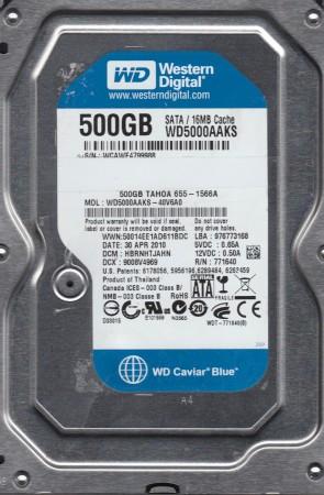 WD5000AAKS-40V6A0, DCM HBRNHTJAHN, Western Digital 500GB SATA 3.5 Hard Drive