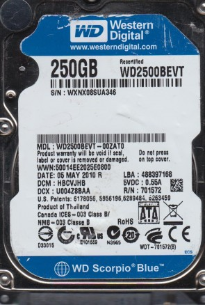WD2500BEVT-00ZAT0, DCM HBCVJHB, Western Digital 250GB SATA 2.5 Hard Drive
