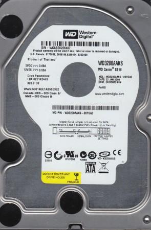 WD3200AAKS-00YGA0, DCM DHRCNT2AHN, Western Digital 320GB SATA 3.5 Hard Drive