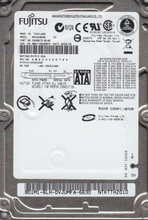 MHV2080BH, PN CA06672-B148, Fujitsu 80GB SATA 2.5 Hard Drive
