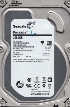 ST2000DM001, W2F, WU, PN 9YN164-570, FW CC9B, Seagate 2TB SATA 3.5 Hard Drive