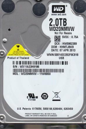 WD20NMVW-11W68S0, DCM HHMTJBKB, Western Digital 2TB USB 2.5 Hard Drive