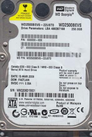 WD2500BEVS-22UST0, DCM FACTJAN, Western Digital 250GB SATA 2.5 Hard Drive