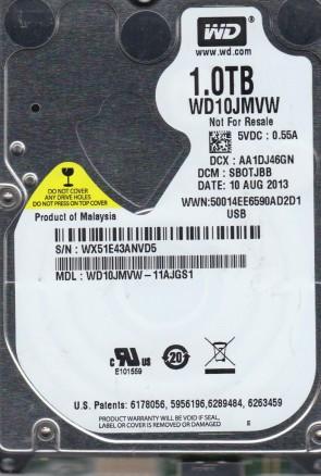 WD10JMVW-11AJGS1, DCM SBOTJBB, Western Digital 1TB USB 2.5 Hard Drive