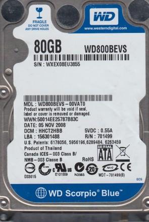 WD800BEVS-00VAT0, DCM HHCT2HBB, Western Digital 80GB SATA 2.5 Hard Drive