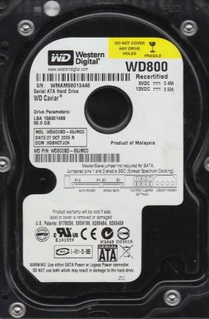 WD800BD-88JMC0, DCM HSBHCTJCH, Western Digital 80GB SATA 3.5 Hard Drive