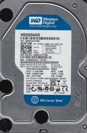 WD5000AAKS-75A7B2, DCM HANNHTJMA, Western Digital 500GB SATA 3.5 Hard Drive