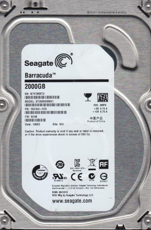 ST2000DM001, W1F, WU, PN 1E6164-570, FW SC48, Seagate 2TB SATA 3.5 Hard Drive