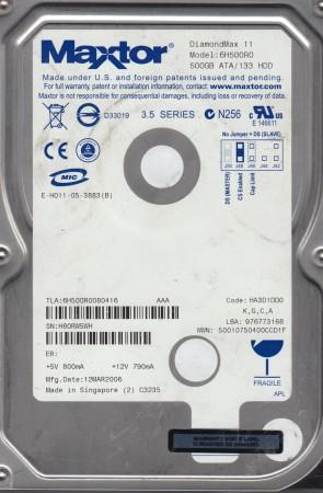 6H500R0, Code HA3D1DD0, KGCA, Maxtor 500GB IDE 3.5 Hard Drive
