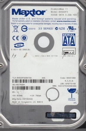 6H500F0, Code HA431D90, NGBA, Maxtor 500GB SATA 3.5 Hard Drive