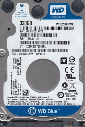 WD3200LPVX-60V0TT0, DCM DAOTJBK, Western Digital 320GB SATA 2.5 Hard Drive