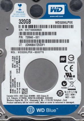 WD3200LPVX-60V0TT0, DCM HAOTJAN, Western Digital 320GB SATA 2.5 Hard Drive