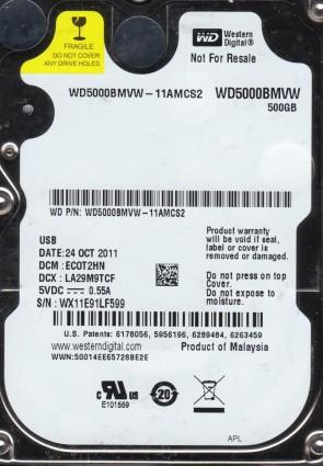 WD5000BMVW-11AMCS2, DCM ECOT2HN, Western Digital 500GB USB 2.5 Hard Drive
