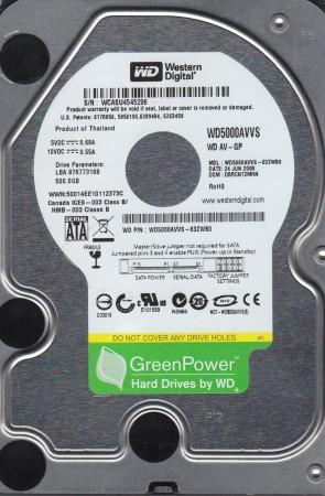 WD5000AVVS-63ZWB0, DCM DBRCNT2MHN, Western Digital 500GB SATA 3.5 Hard Drive