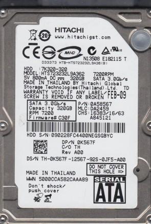 HTS723232L9A362, PN 0A58567, MLC DA2459, Hitachi 320GB SATA 2.5 Hard Drive