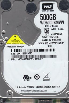 WD5000BMVW-11S5XS1, DCM EHMTJHB, Western Digital 500GB USB 2.5 Hard Drive
