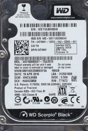 WD1600BEKT-75A25T0, DCM HHCVJHBB, Western Digital 160GB SATA 2.5 Hard Drive