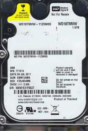 WD10TMVW-11ZSMS5, DCM EBMTJHBN, Western Digital 1TB USB 2.5 Hard Drive