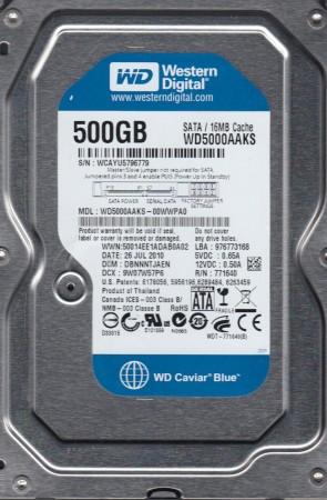 WD5000AAKS-00WWPA0, DCM DBNNNTJAEN, Western Digital 500GB SATA 3.5 Hard Drive
