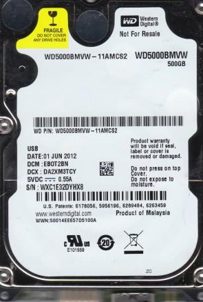 WD5000BMVW-11AMCS2, DCM EBOT2BN, Western Digital 500GB USB 2.5 Hard Drive