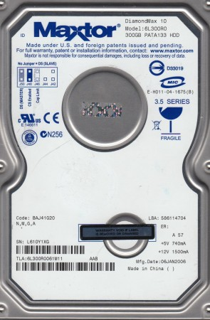 6L300R0, Code BAJ41G20, NMGA, Maxtor 300GB IDE 3.5 Hard Drive