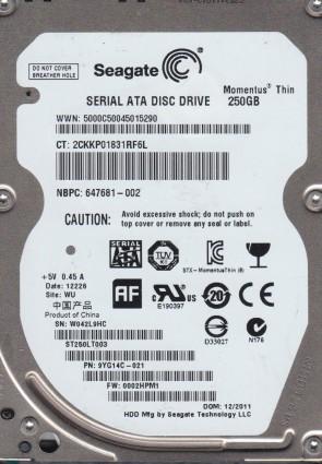 ST250LT003, W04, WU, PN 9YG14C-021, FW 0002HPM1, Seagate 250GB SATA 2.5 Hard Drive