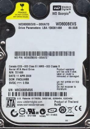 WD800BEVS-00VAT0, DCM FHCVJHBB, Western Digital 80GB SATA 2.5 Hard Drive