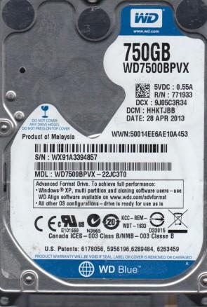 WD7500BPVX-22JC3T0, DCM HHKTJBB, Western Digital 750GB SATA 2.5 Hard Drive