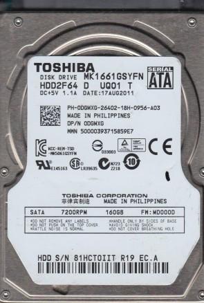 MK1661GSYFN, MD000D, HDD2F64 D UQ01 T, Toshiba 160GB SATA 2.5 Hard Drive
