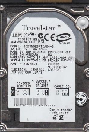 IC25N020ATDA04-0, PN 07N7353, MLC H32162, IBM 20GB IDE 2.5 Hard Drive