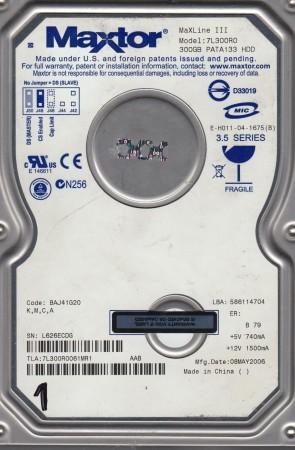 7L300R0, Code BAJ41G20, KMCA, Maxtor 300GB IDE 3.5 Hard Drive