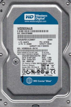 WD2500AAJS-08L7A0, DCM DANNHT2CH, Western Digital 250GB SATA 3.5 Hard Drive