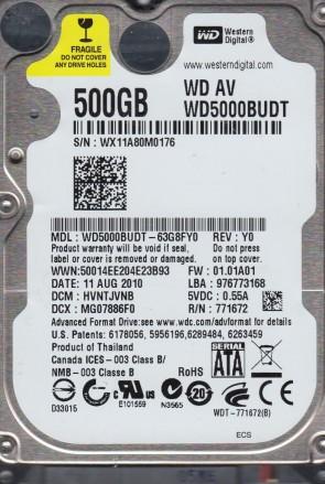 WD5000BUDT-63G8FY0, DCM HVNTJVNB, Western Digital 500GB SATA 2.5 Hard Drive