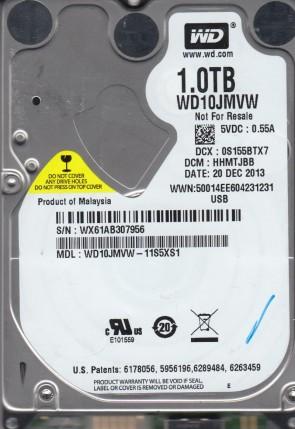 WD10JMVW-11S5XS1, DCM HHMTJBB, Western Digital 1TB USB 2.5 Hard Drive