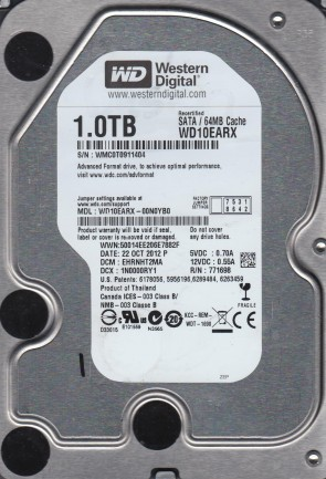 WD10EARX-00N0YB0, DCM EHRNHT2MA, Western Digital 1TB SATA 3.5 Hard Drive