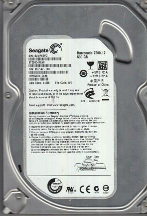 ST3500418AS, 5VM, WU, PN 9SL142-303, FW CC46, Seagate 500GB SATA 3.5 Hard Drive