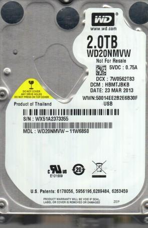 WD20NMVW-11W68S0, DCM HBMTJBKB, Western Digital 2TB USB 2.5 Hard Drive