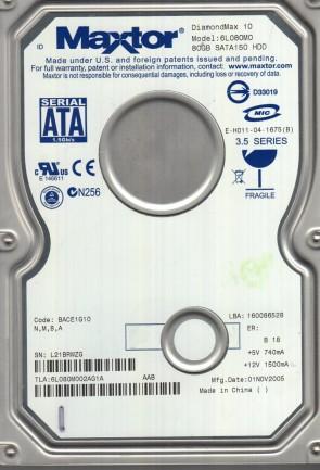 6L080M0, Code BACE1G10, NMBA, Maxtor 80GB SATA 3.5 Hard Drive