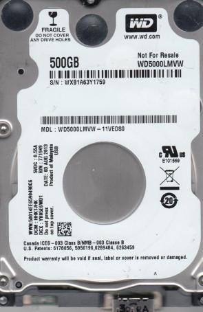 WD5000LMVW-11VEDS0, DCM HHKTJHK, Western Digital 500GB USB 2.5 Hard Drive